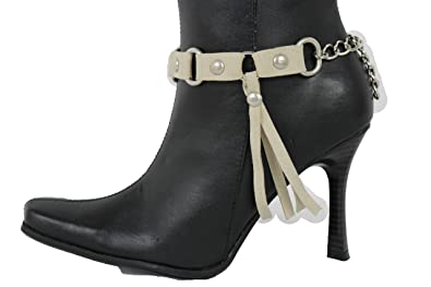 New Women Silver Metal Chain Boot Bracelet Western Shoe Charm Anklet Long Fringe