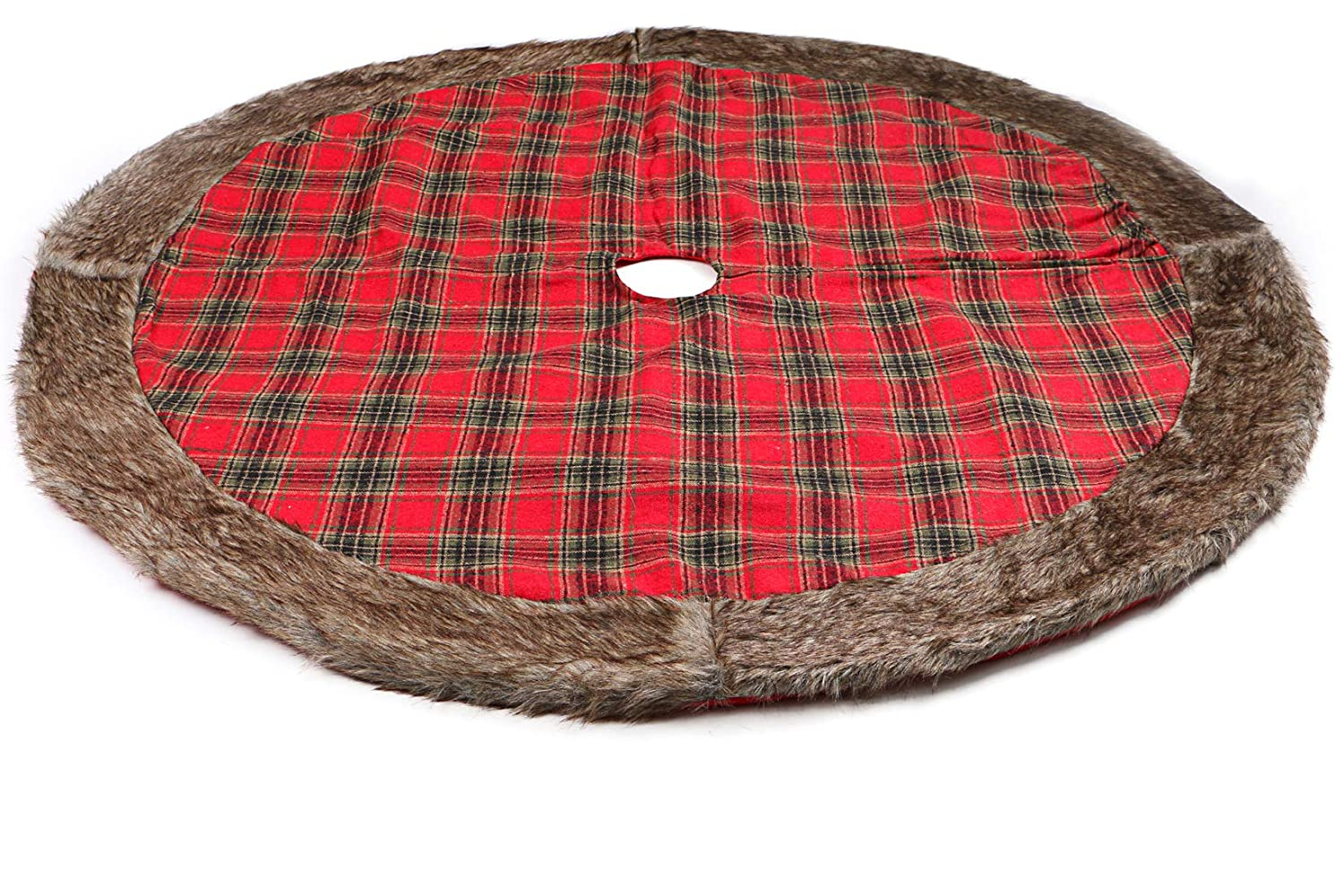 Wishdiam Linen Burlap Christmas Tree Skirt Red Black Plaid Ruffle Edge Border Large 48 inches Round Indoor Outdoor Mat Xmas Party Holiday Decorations