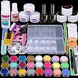 Acrylic Nail Kit Acrylic Powder Liquid Brush Glitter Clipper File Tips Gel Nail art Tools Kit Professional Acrylic Nail…