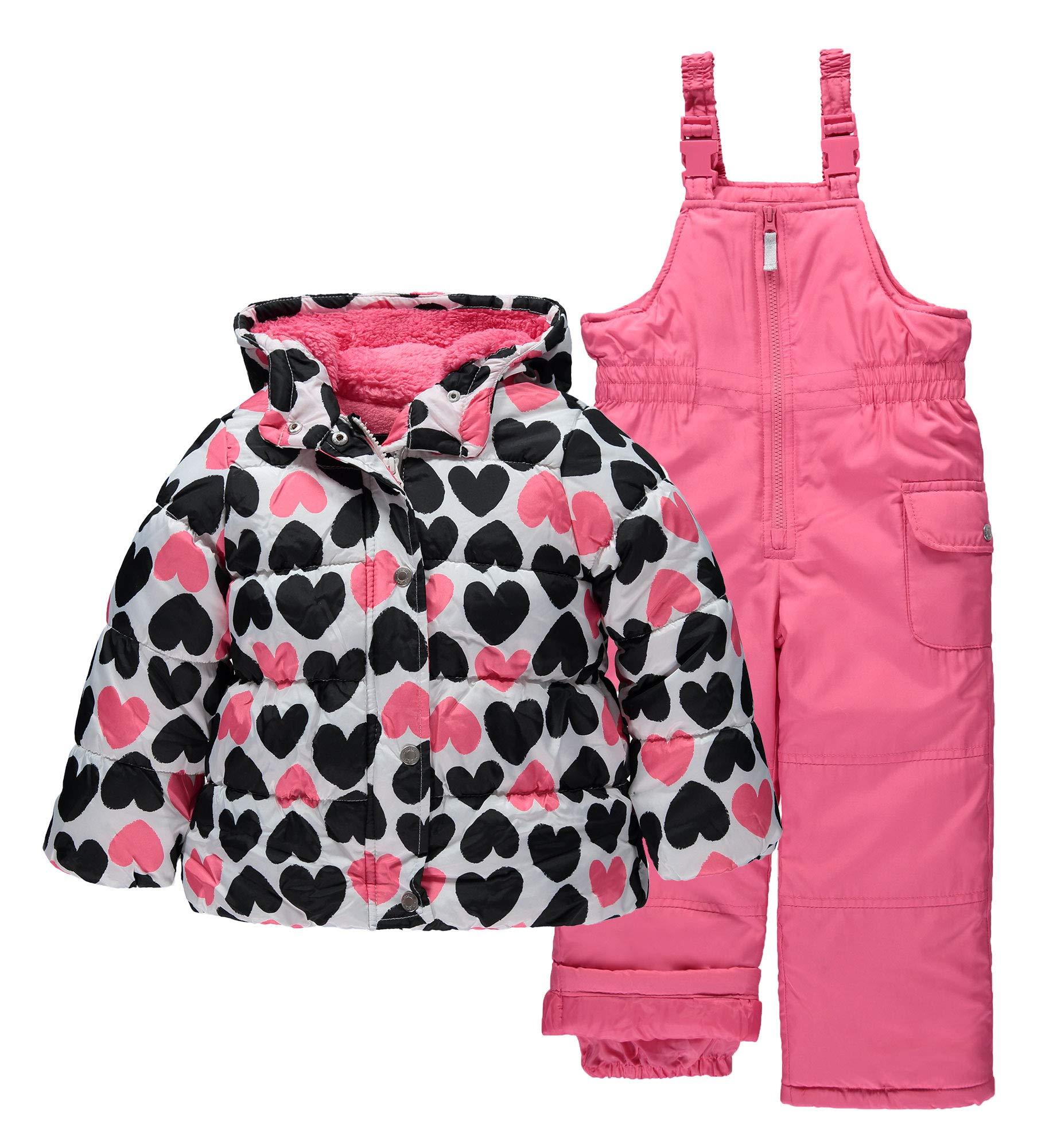 Carter's Girls' Little Heavyweight 2-Piece Skisuit Snowsuit, Black & Pink Hearts, 5/6 by Carter's
