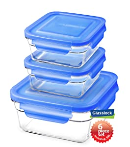 Snaplock Lid Tempered Glasslock Storage Square Containers 3pc set Combo with Blue Lid - Microwave & Oven Safe Spill Proof