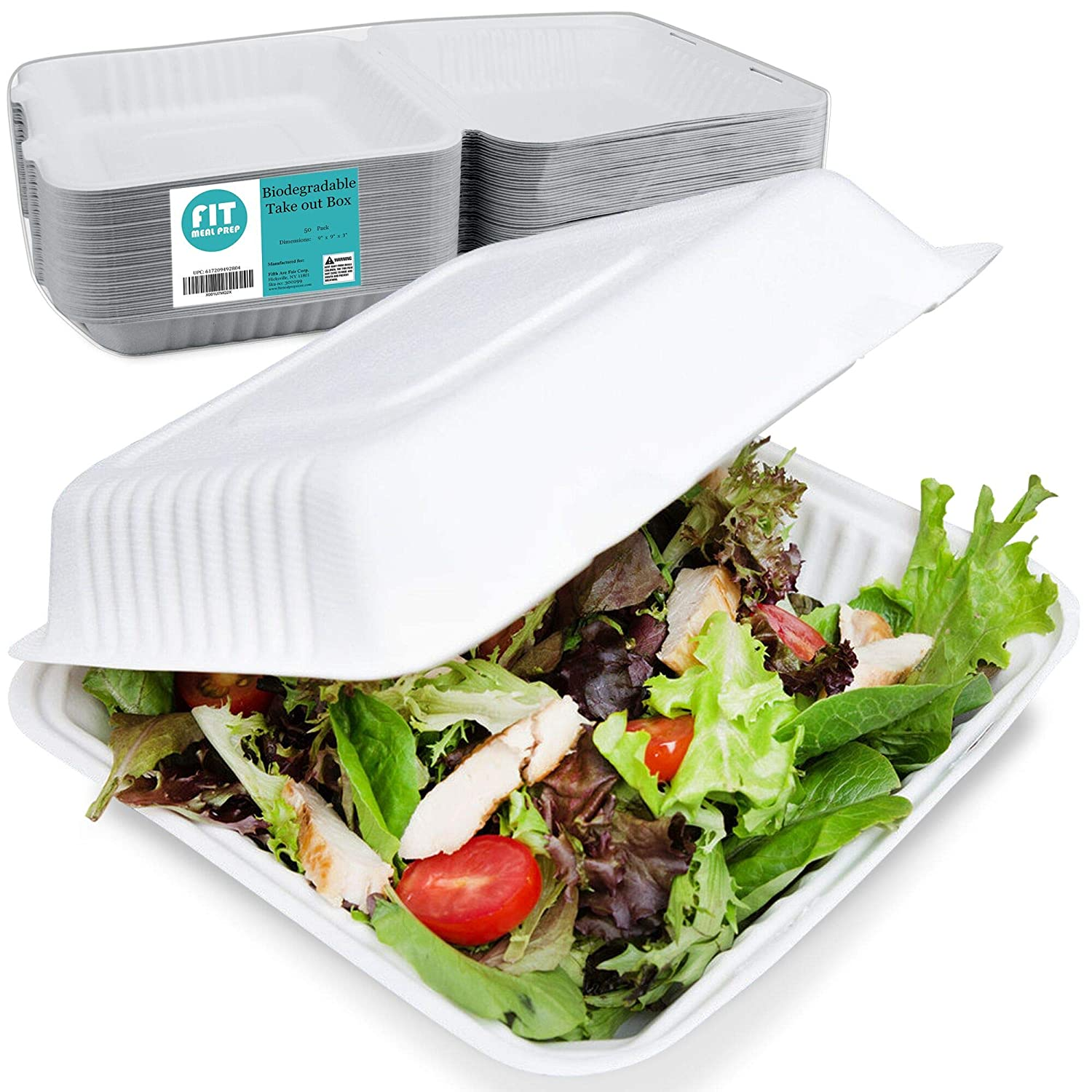 """[50 Pack] 9x9x3"""" Clamshell Food Containers with 1 Compartment - Compostable Take Out Box, 100% Biodegradable Sugarcane, Styrofoam and Plastic Alternative, Microwave Safe, to Go Lunch and Meals"""