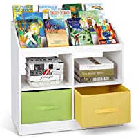 Kids Bookshelf and Storage White - amzdeal 5 Tier Small Bookshelf Book Rack with 4 Toy Storage and 2 Bins, Solid and Stable Kids Bookcase for Books Toys in Playrooms Study Living Room Bedroom