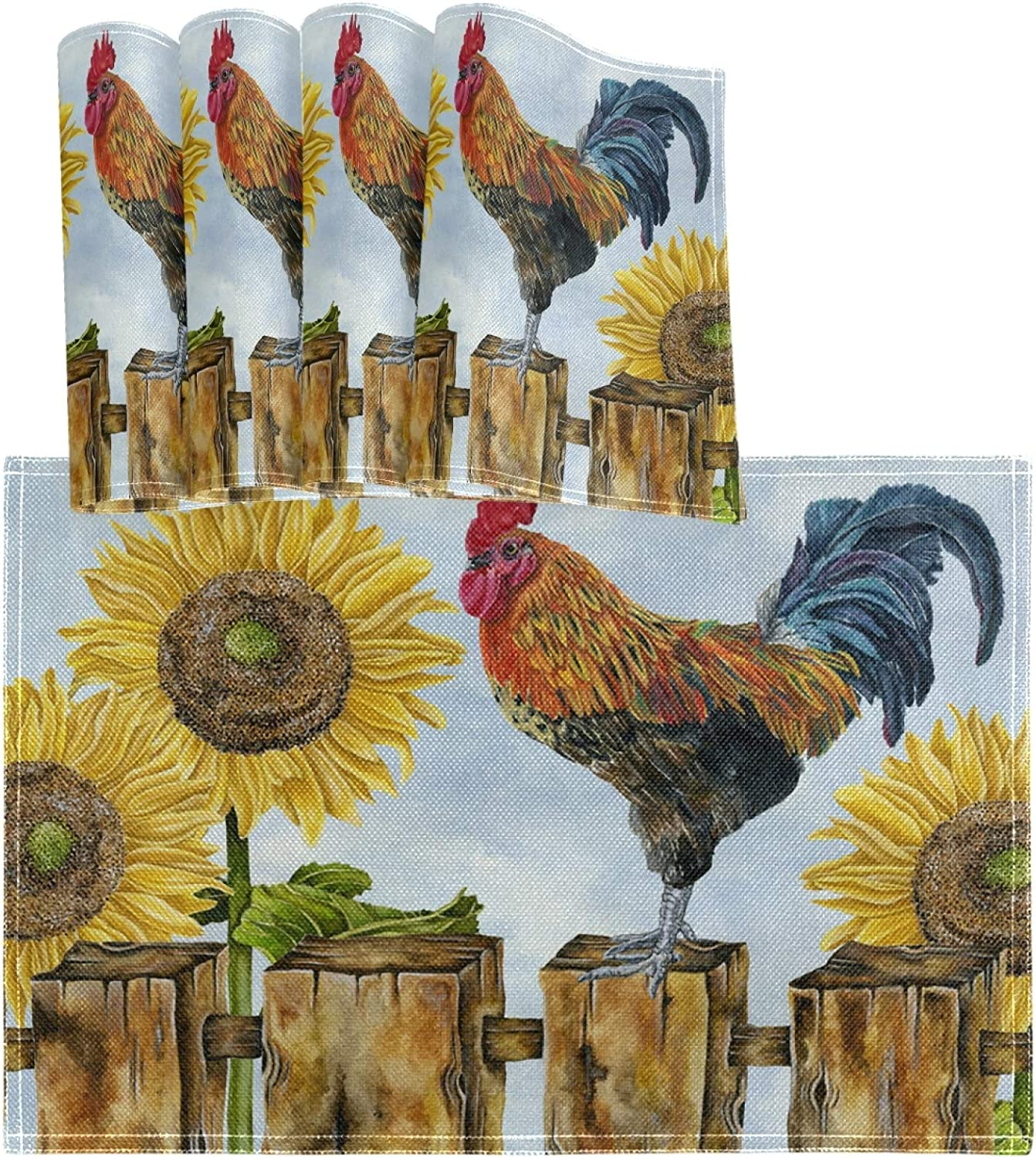 Oarencol Rooster Sunflower Wooden Placemat Table Mats Set of 4, Morning Farmhouse Birds Animal Heat-Resistant Washable Clean Kitchen Place Mats for Dining Table Decoration