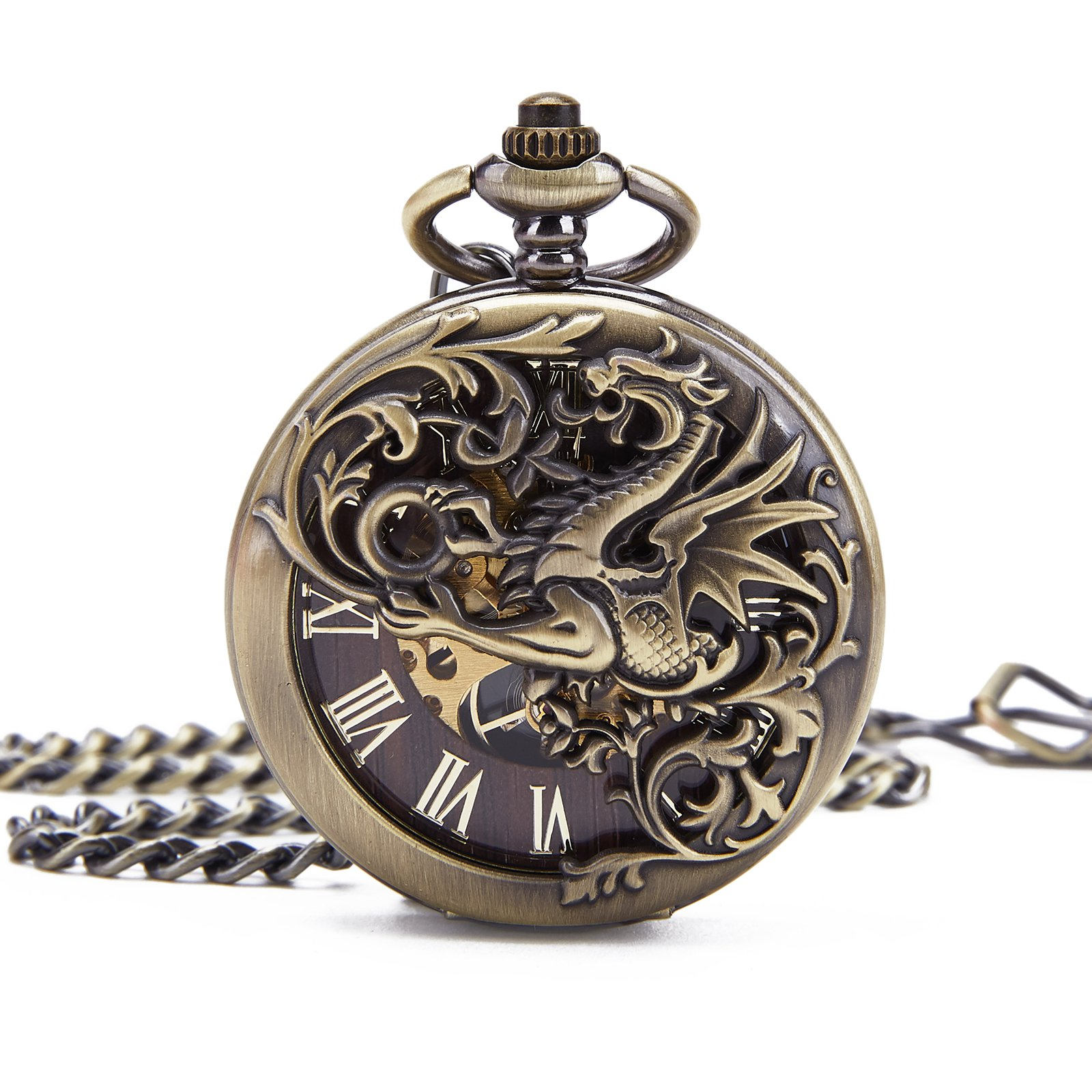Retro Mens Bronze Dragon Half Double Hunter Skeleton Mechanical Roman Numerals Pocket Watch With Chain Gift