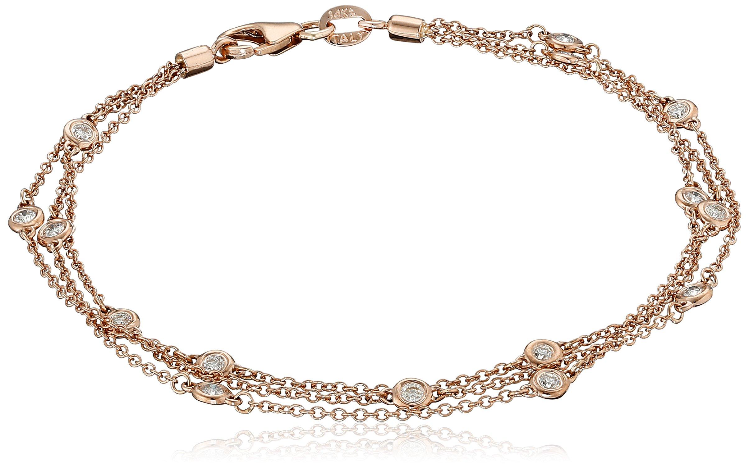 14k Rose Gold Floating Diamond Strand Bracelet (1/2cttw, K-L Color, I1-I2 Clarity), 7'' by Amazon Collection