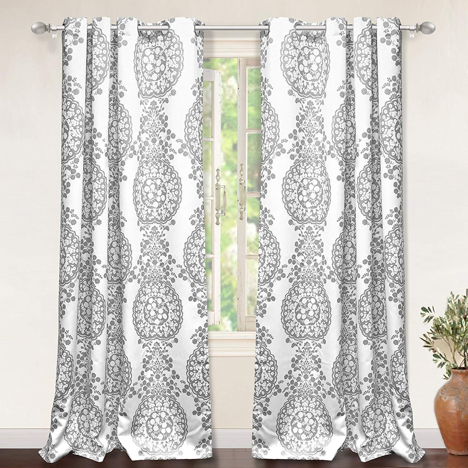 DriftAway Samantha Thermal Room Darkening Grommet Unlined Window Curtains Floral Damask Medallion Pattern 2 Panels Each 52 Inch by 84 Inch Gray by DriftAway
