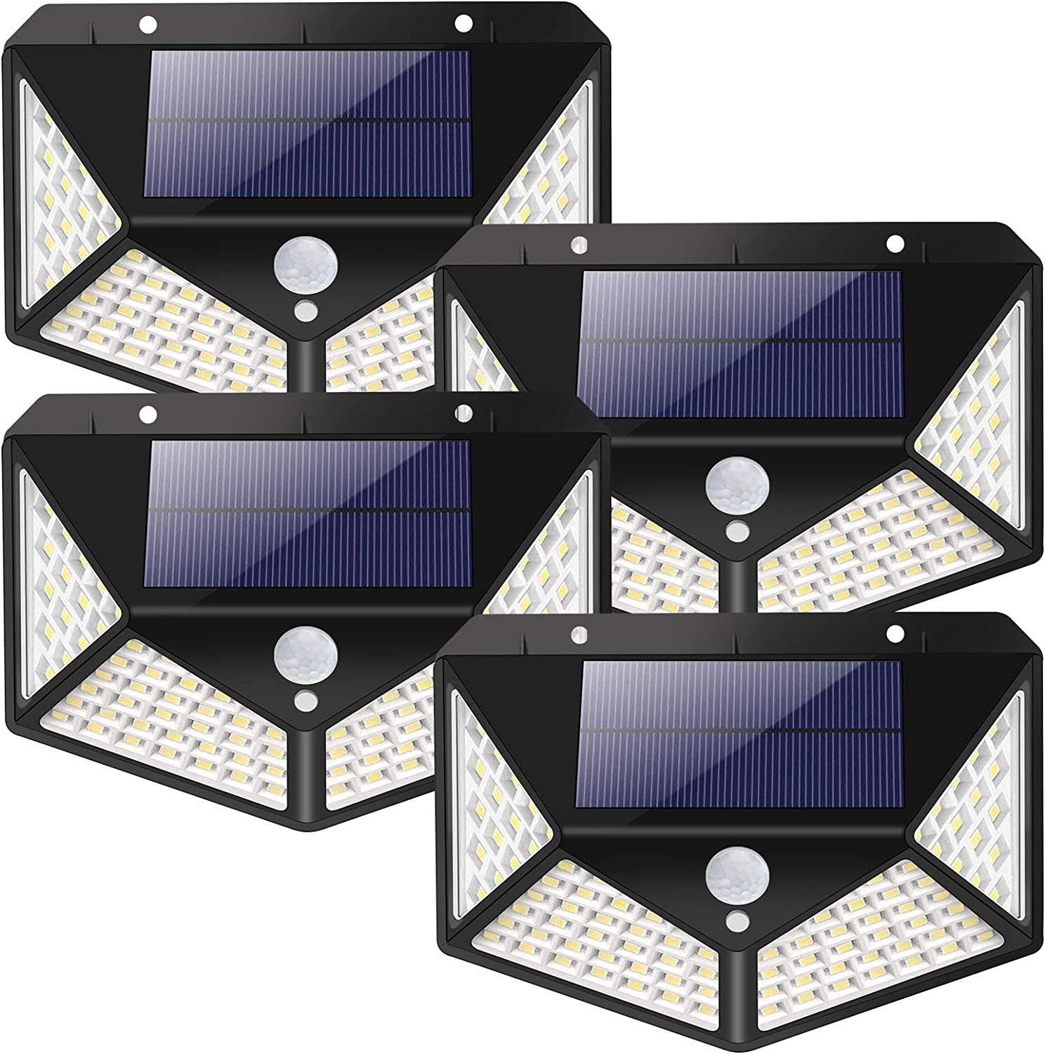 BS ONE Solar Lights Outdoor, Wireless Solar Motion Sensor Security Lights 2200mAh Battery 100 LED Solar Powered Wall Lights IP65 Waterproof 3 Lighting Modes for Garden Patio Fence Yard Garage 4 Pack