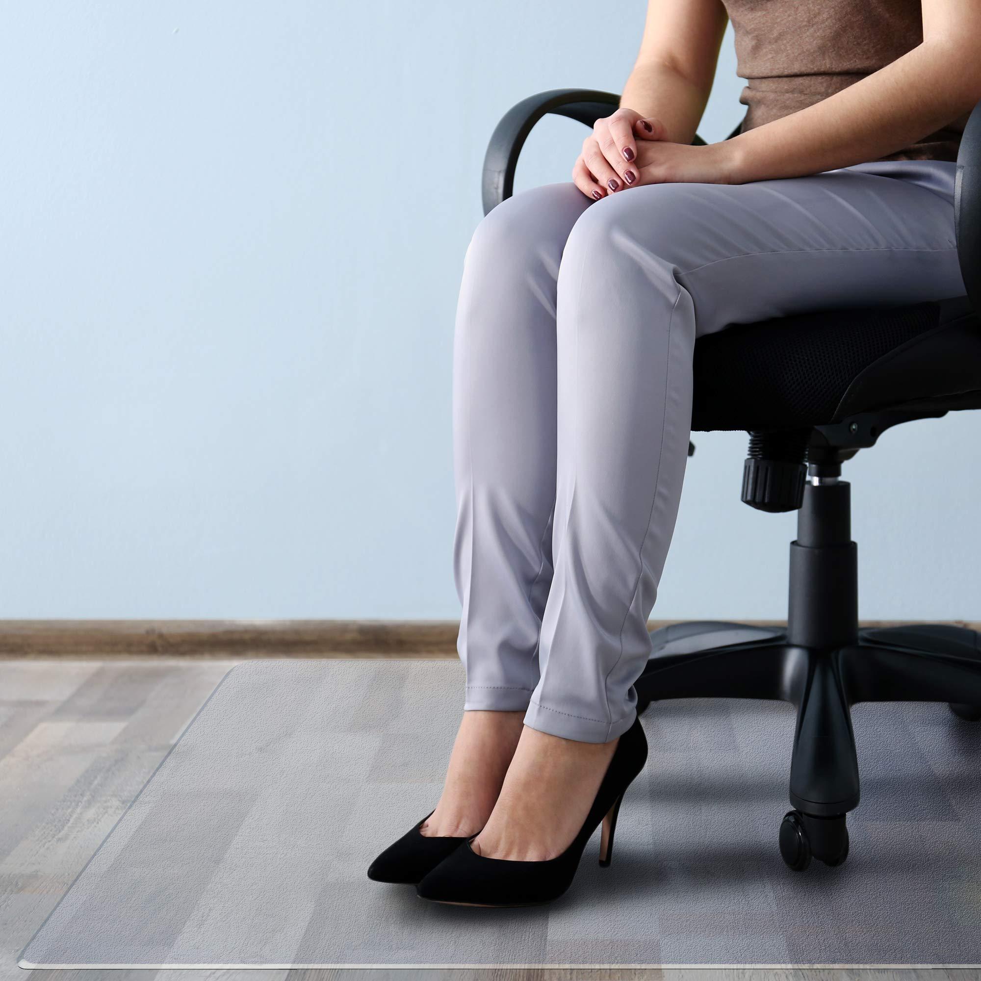 Floortex Cleartex MegaMat Heavy-Duty Polycarbonate Chair Mat for Hard Floors and Carpets, 46'' x 60'', Clear (FCM121525ER)