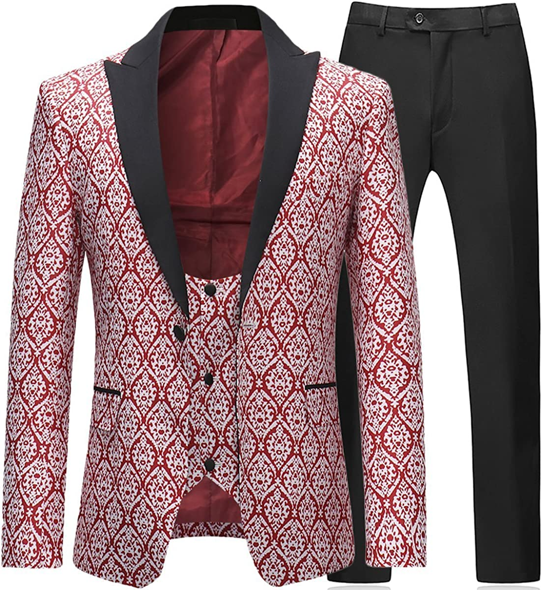 Boyland Mens 3 Piece Tuxedos Slim Fit Floral Vintage Groomsmen Wedding Suit Outfit Jacket