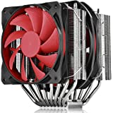 DEEPCOOL 8 Heatpipes CPU Cooler, Asymmetric Twin-Tower Design, Nickel-Plated Heatsink Air Cooler for Overclockers, 2 Red Fan (120mm and 140mm), ASSASSIN II