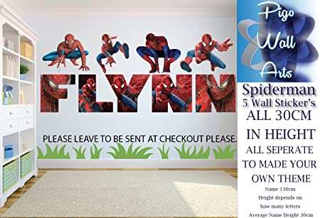Spiderman Wall Sticker Kids Bedroom Art Any Name X 5 Make Your Own Theme