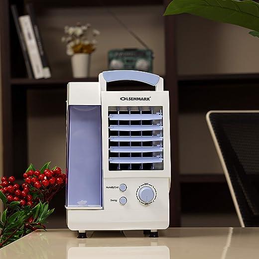 مبرد هواء ميني من اولسينمارك - مروحة، مبرد هواء، معقم هواء - 0.80 لتر - 3 سرعات للريح - قابس بي اس - محمول