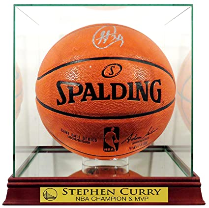 "d323a65c8f1 Amazon.com  GS Warriors Stephen Curry Autographed Basketball w  ""NBA  CHAMPION   MVP"" Case (COA)  Sports Collectibles"