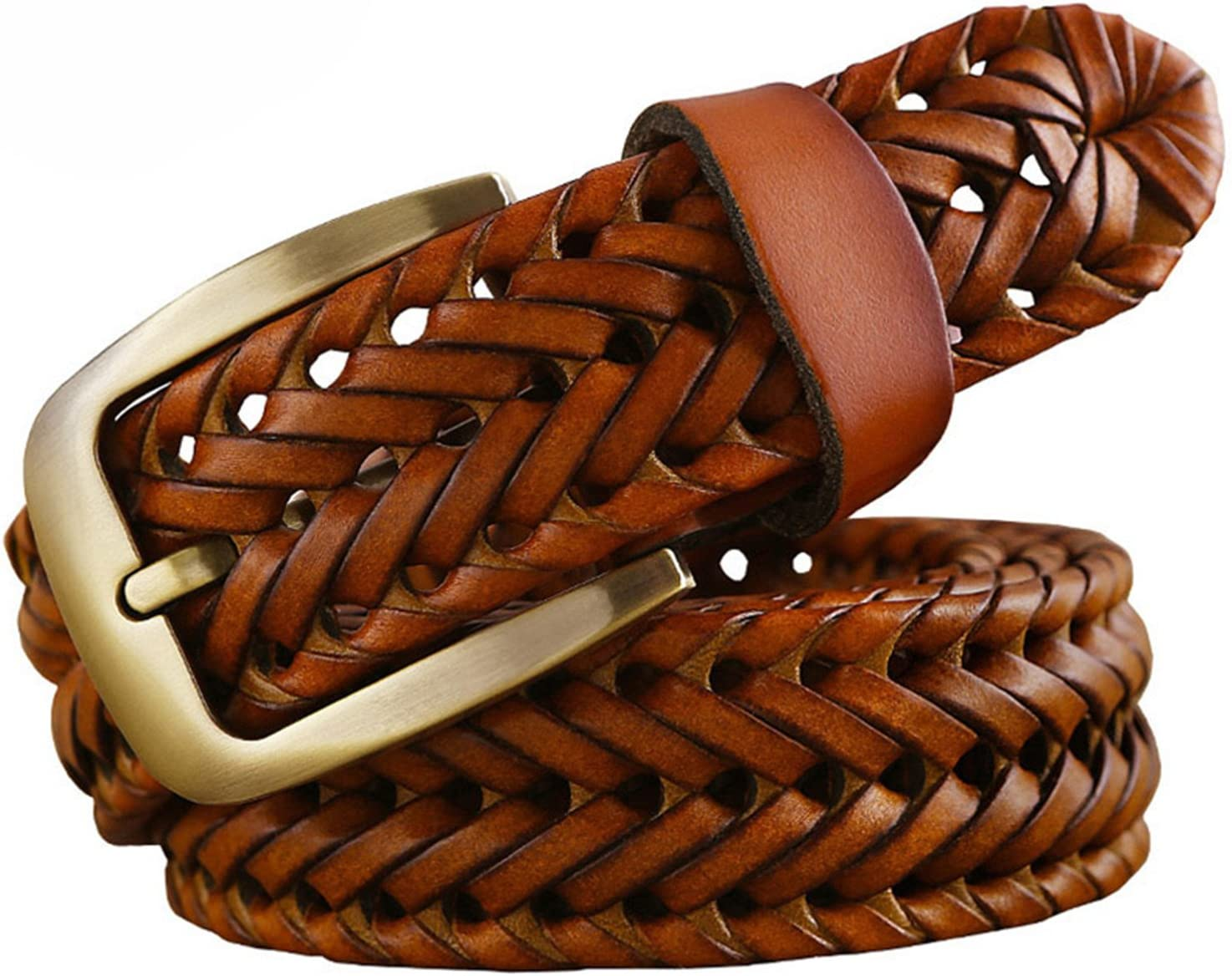 Susan1999 New Braided Belt Fashion Mens Genuine Leather Second Layer Skin Belts For Jeans