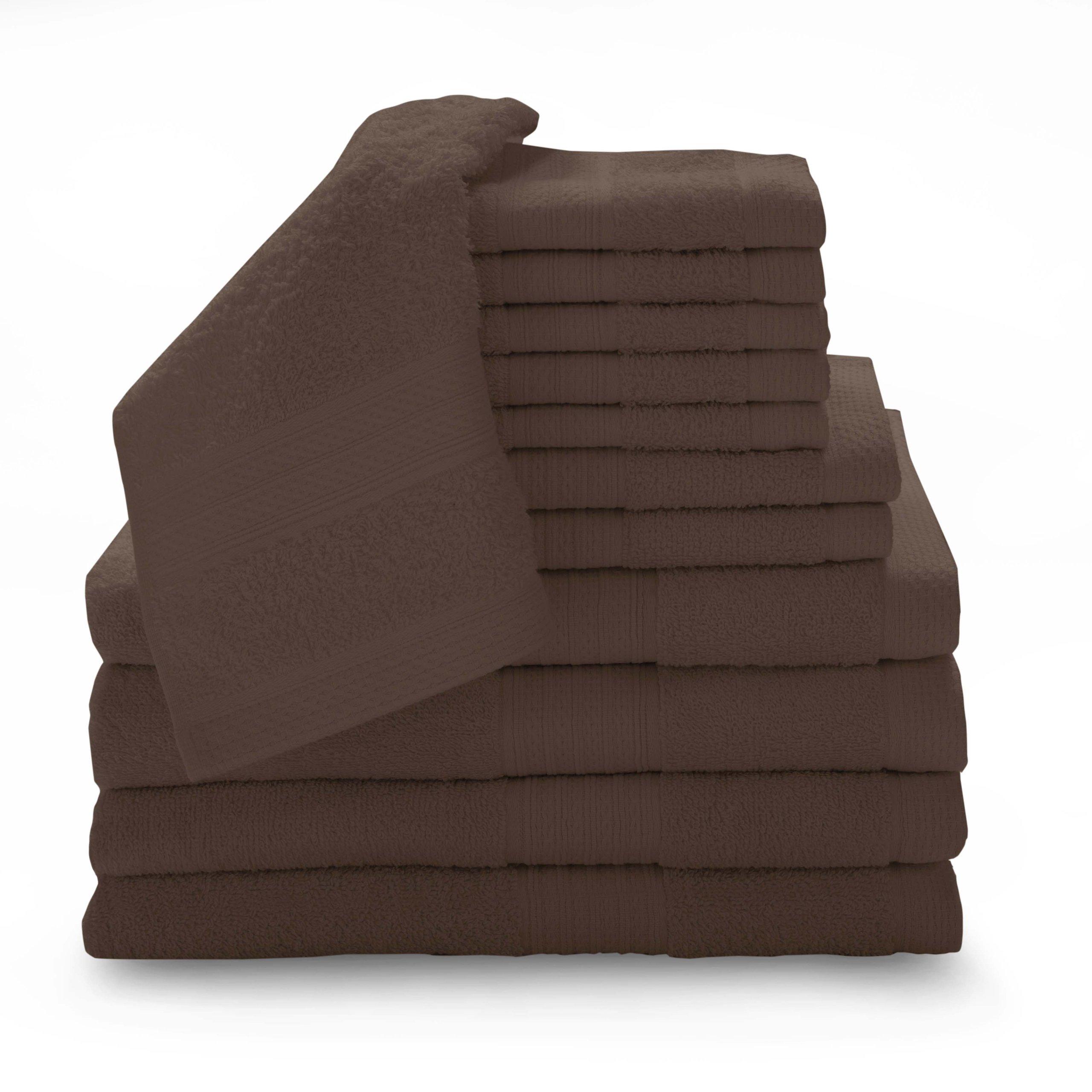 BALTIC LINEN COMPANY 100-Percent Cotton Luxury 12-Piece Towel Set, Espresso