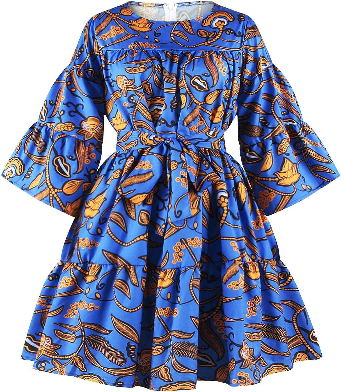 Rebecca Women's Girls Sexy One Shoulder Oblique Neck Short Dresses African Floral Print Dress