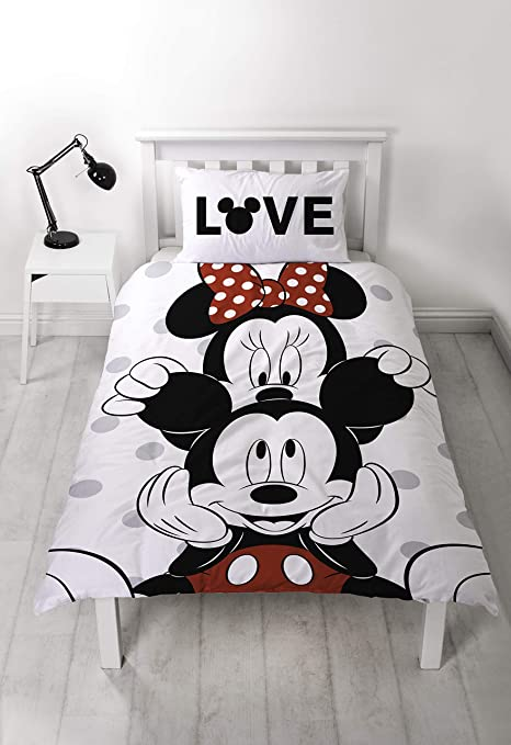 Piumino Matrimoniale Minnie E Topolino.Disney Mickey Minnie Mouse Copripiumino Singolo Double Face A