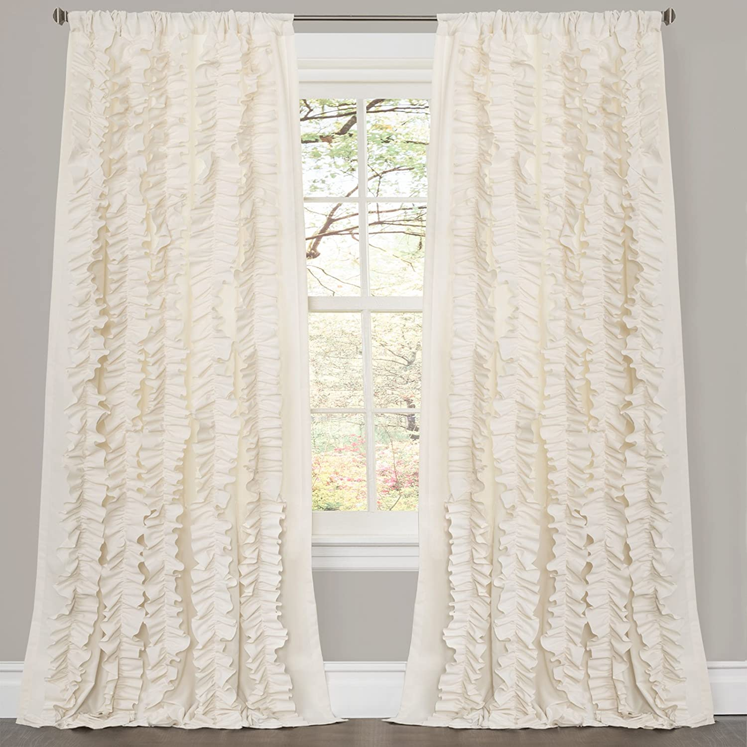 Lush Decor Lake Como Curtains Amazoncom Lush Decor Belle Curtain 84 X 54 Inches Ivory Home