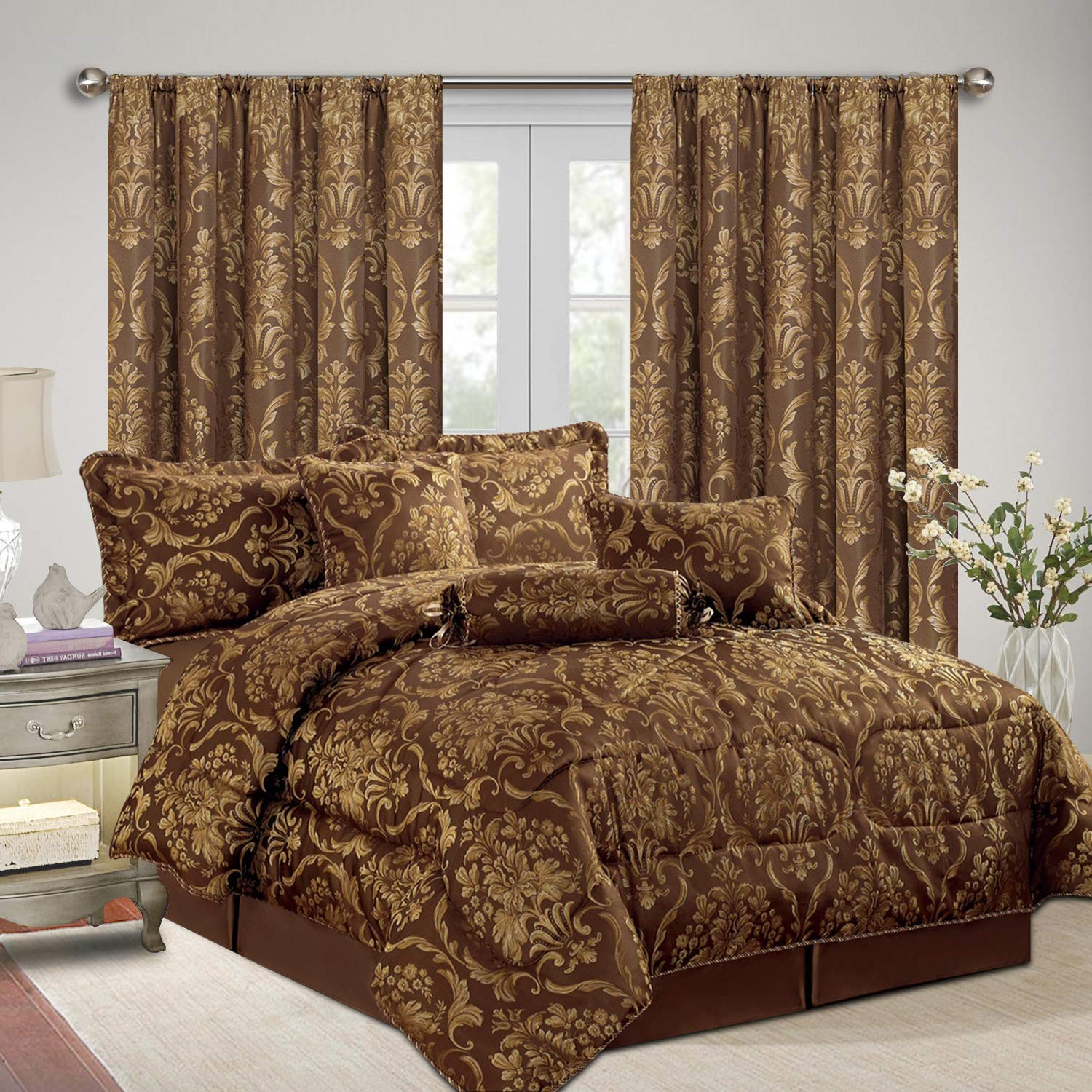 Ruby Double//Coffee // 90x90 Bed Sets Pillow Cases AS Imperial Rooms Luxury Jacquard 7 Piece Floral Bedding with matching Curtains Quilted Bedspreads Comforter Sets Decor Bedroom