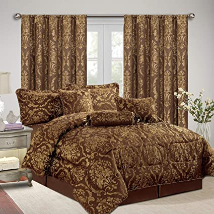 AS Imperial Rooms Jacquard 7 Piece Bedding with matching Curtains  Bedspreads Comforter Sets Decor Bedroom - (Ruby King/Coffee / 90x90 Bed  Sets Pillow ...