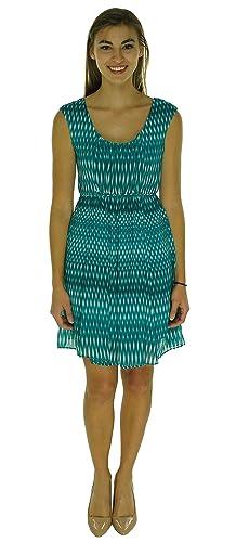 Calvin Klein Womens Petites Chiffon Scoop Neck Casual Dress