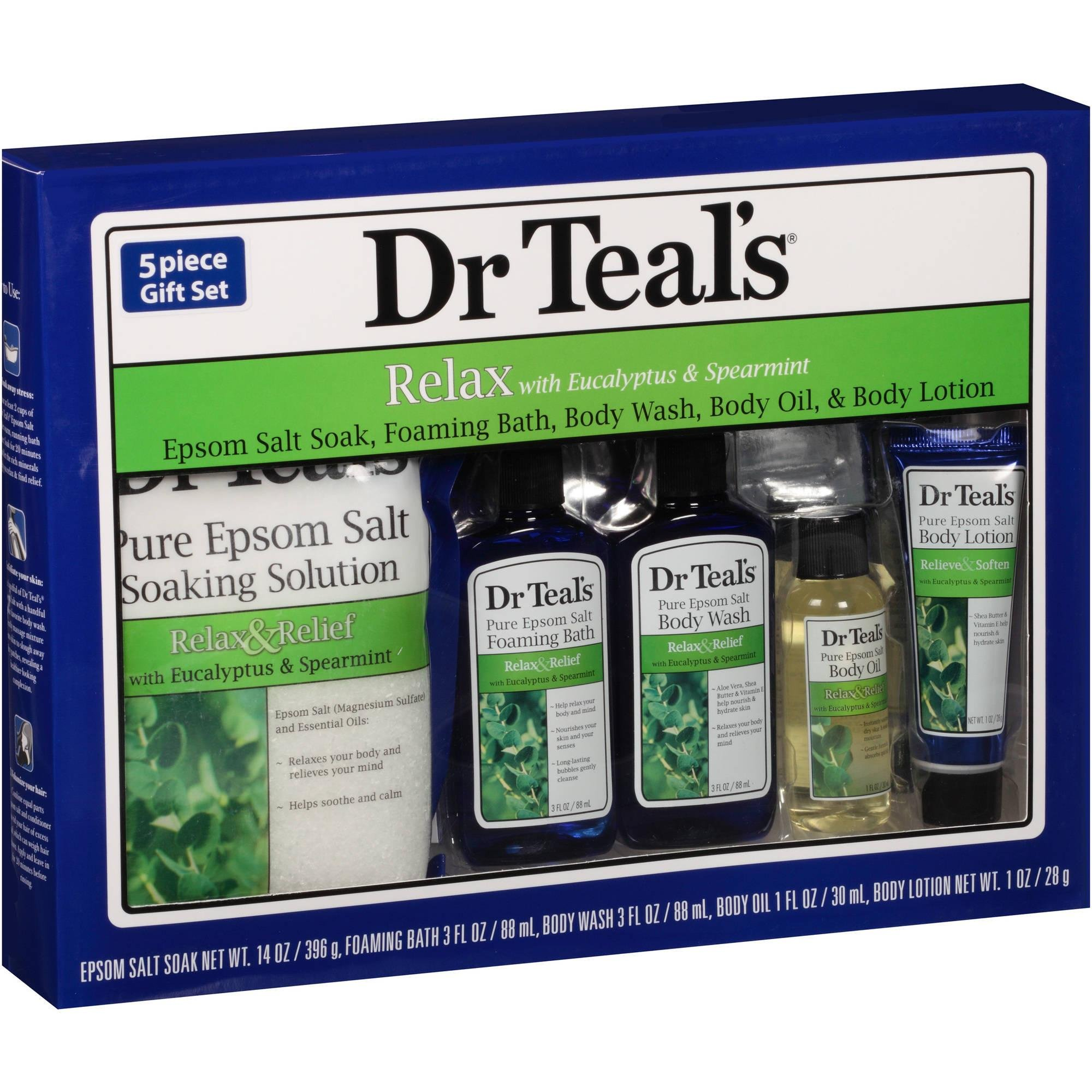 Dr Teal's Relax with Eucalyptus & Spearmint 5-Piece Bath Travel Gift Set