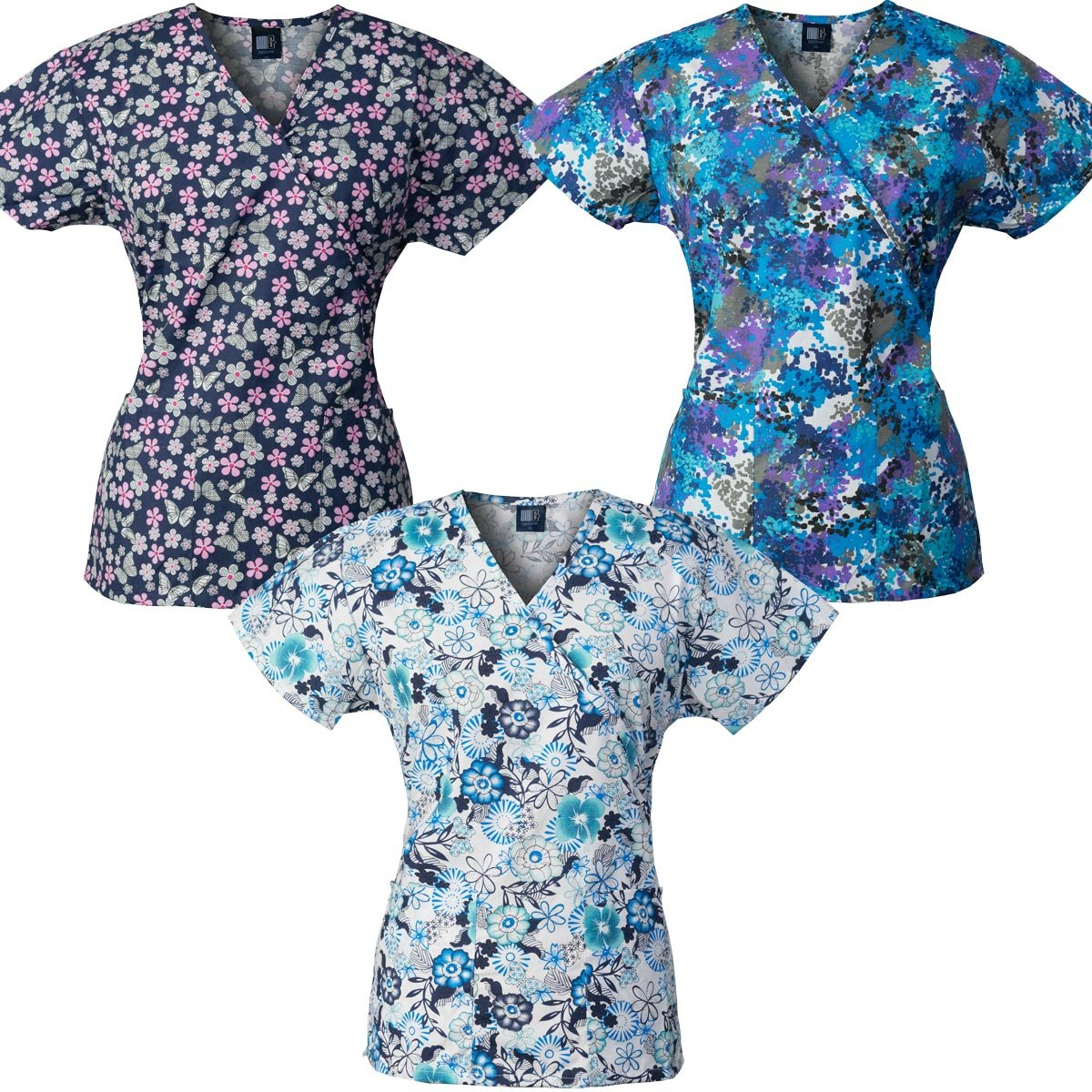 Medgear 3-Pack Womens Fashion Scrub Tops Mock-Wrap Style with Back Ties (L)