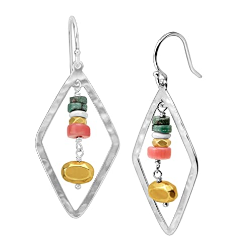 Silpada Colorful Array Open Diamond-Shaped Natural Coral Howlite Drop Earrings in Sterling Silver Brass