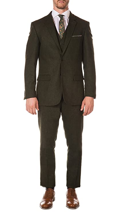 1900s Edwardian Men's Suits and Coats  Vintage Tweed Heritage 3 Piece Vested Slim Fit Suit Ferrecci Mens $119.00 AT vintagedancer.com
