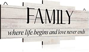 Jetec Family Home Decor Sign, Family Rustic Wall Decor, Family Sign Decoration Wooden Wall Art Sign for Bedroom, Living Room, Wall, Wedding Decor