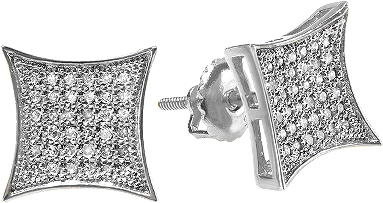 Dazzlingrock Collection 0.33 Carat (ctw) White Diamond Kite Shape Mens Hip Hop Iced Stud Earrings 1/3 CT