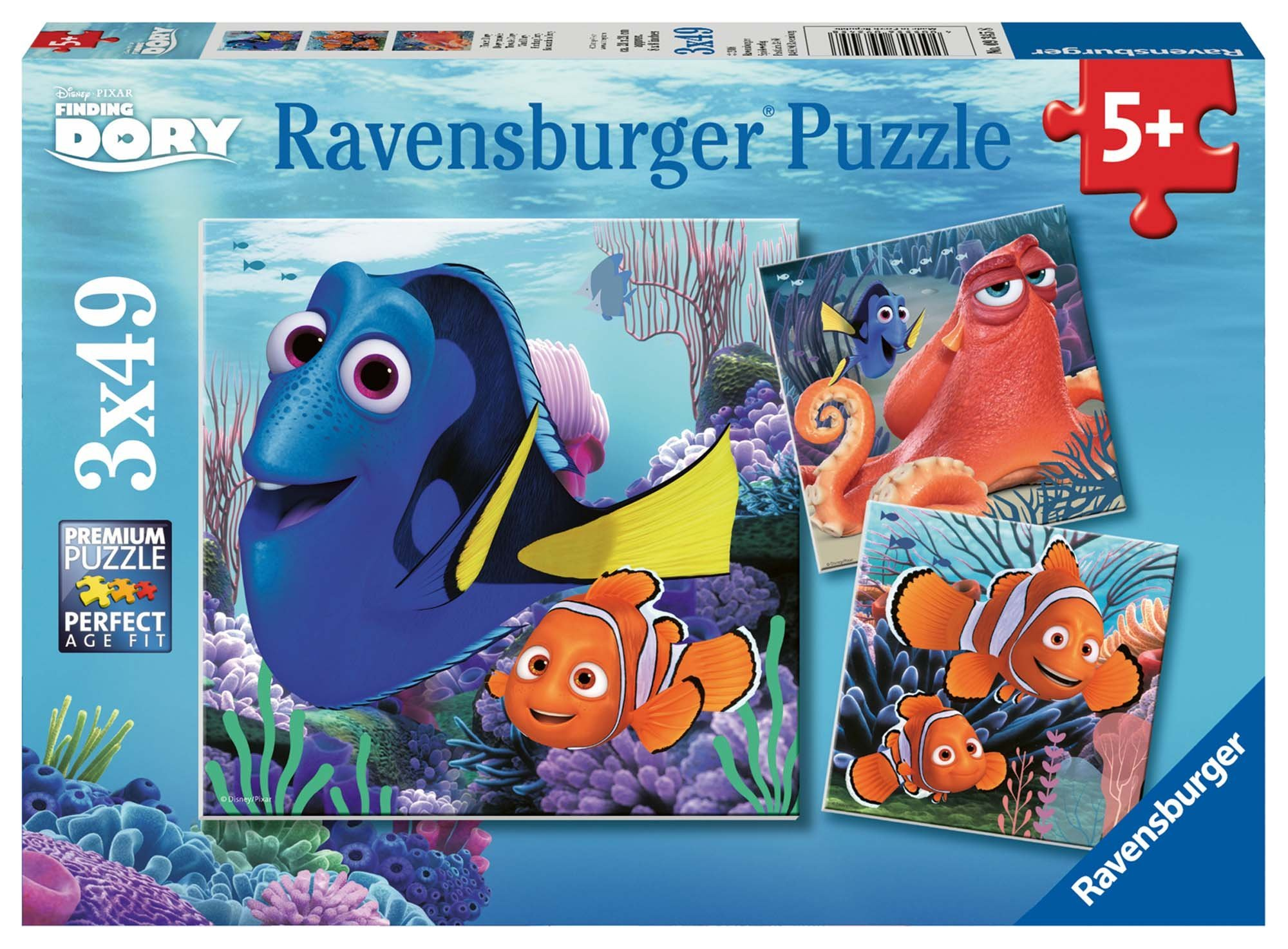 Ravensburger Disney Finding Dory Set of 3 49 Piece Jigsaw Puzzles for Kids – Every Piece is Unique, Pieces Fit Together Perfectly