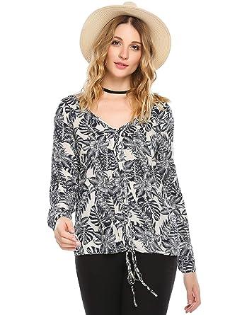 24d21cff558 Zeagoo Womens V Neck Drawstring Front Floral Print Top Blouse Cotton  Pleasant Shirt