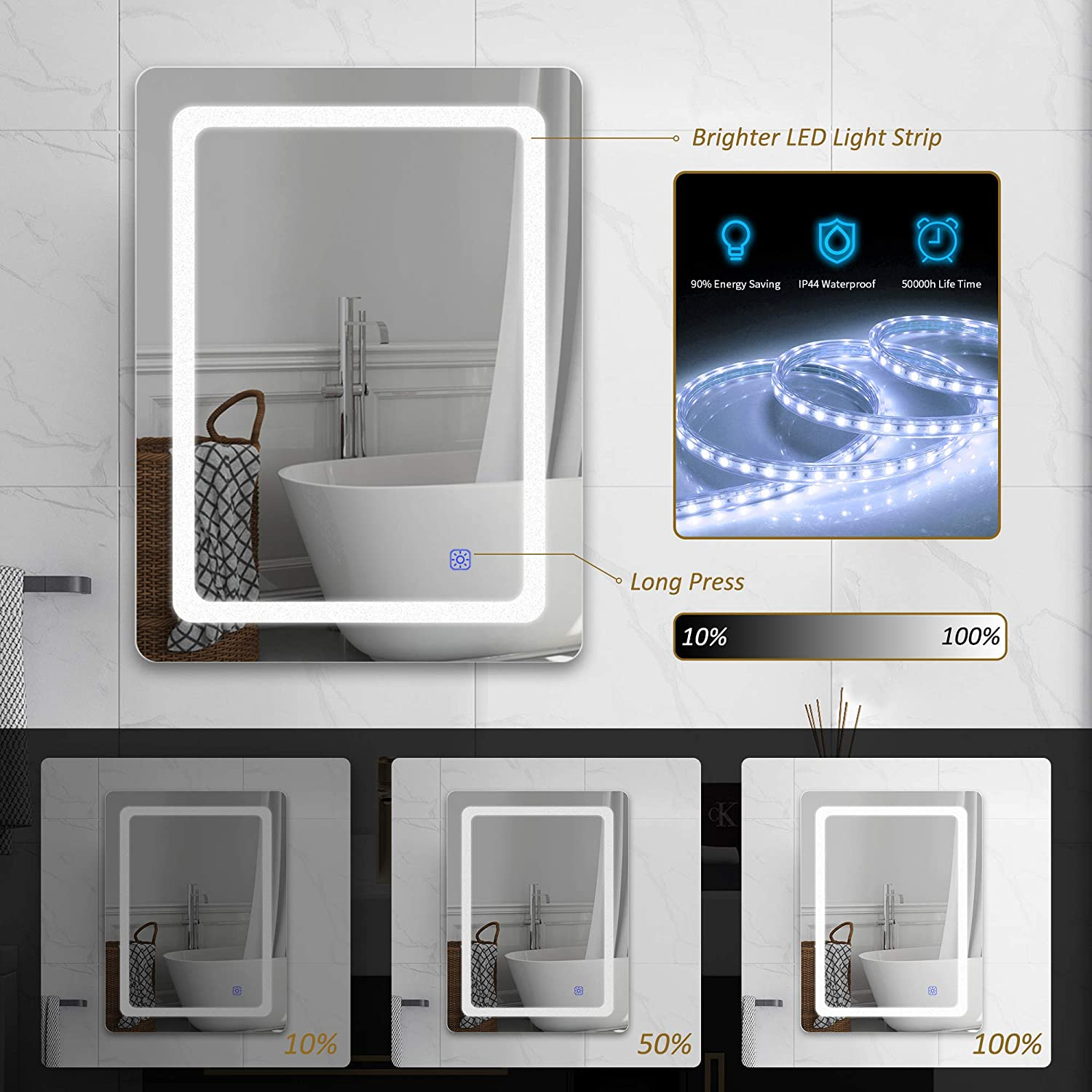 LED Lighted Bathroom Mirror Wall Mounted with Touch Switch Control Dutsekk 24 x 32 Inch LED Vanity Bathroom Mirror Dimmable IP44 Waterproof Horizontal//Vertiacl 3 Light Modes for Makeup