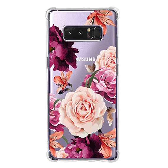 hot sale online de5a1 0539b Amazon.com: Galaxy Note 8 Case for Women Clear with Cute Flowers ...