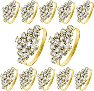 Getfitsoo Napkin Ring,Napkin Holder for Wedding Christmas Party Dinner Table Decor 12 Pcs (Gold Diamond)