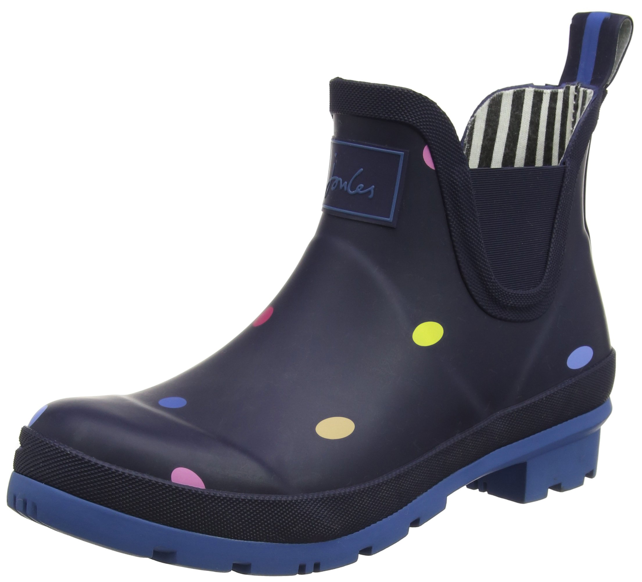 Joules Women's Wellibob Rain Boot, Navy pop spot, 6 Medium US