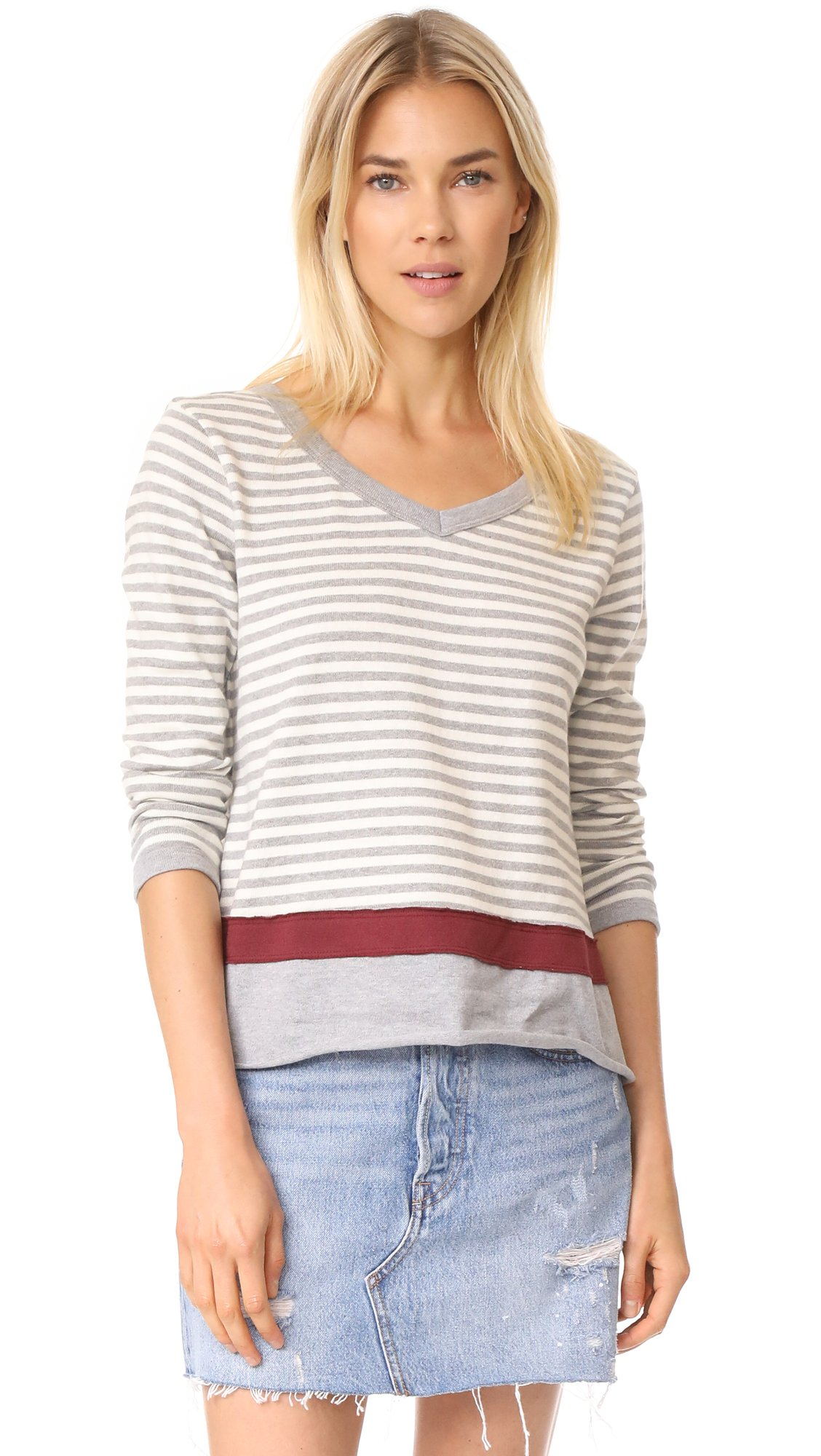 Wilt Women's Extreme Striped Pullover, Grey Heather/Snow, Small