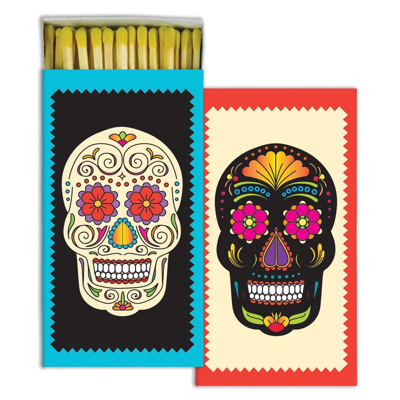 Retro Bright Colors Skull Matches | Flower Child Set 10