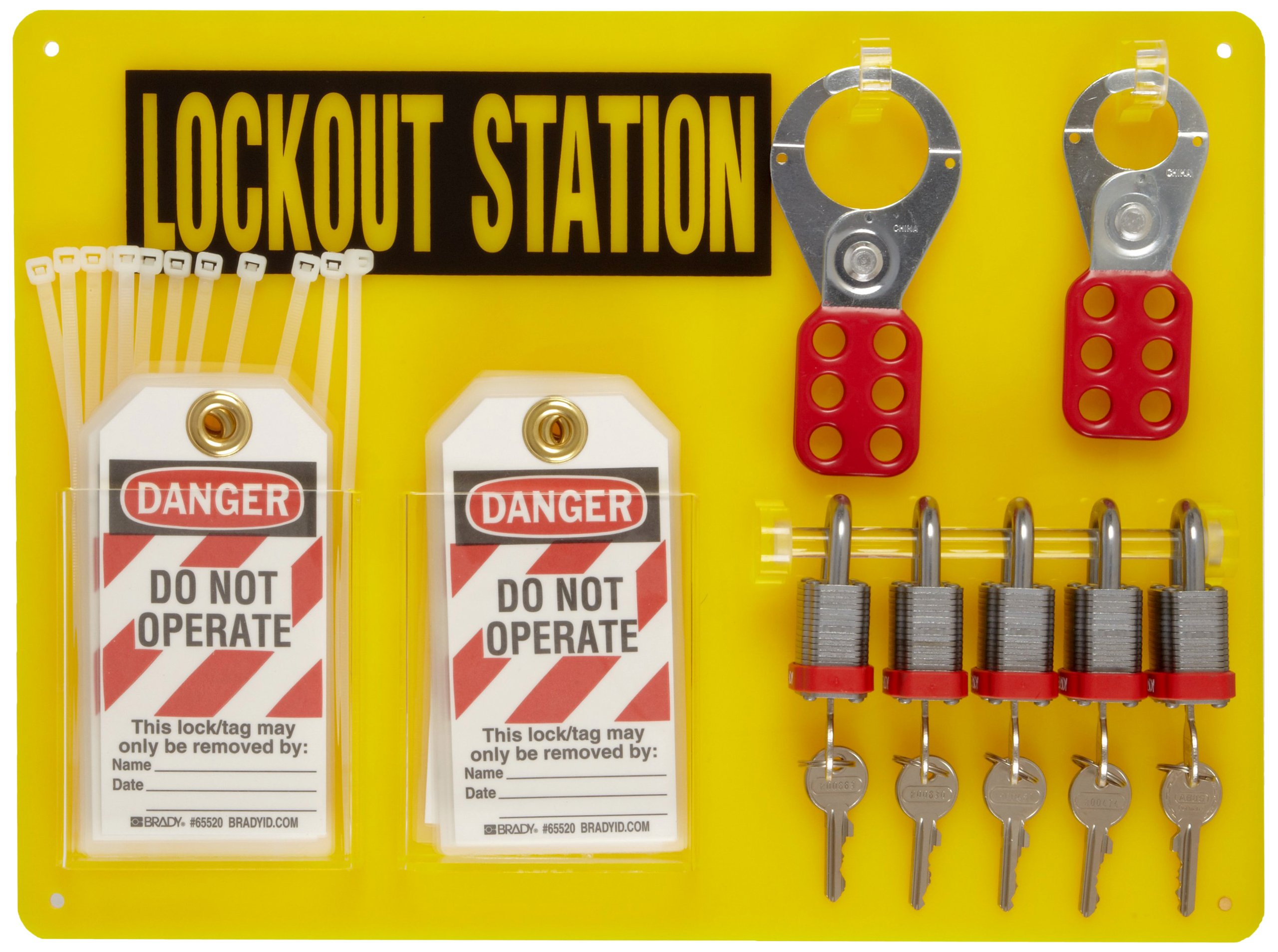 Brady Padlock, Hasp, and Tag Lockout Station, Includes 5 Steel Padlocks