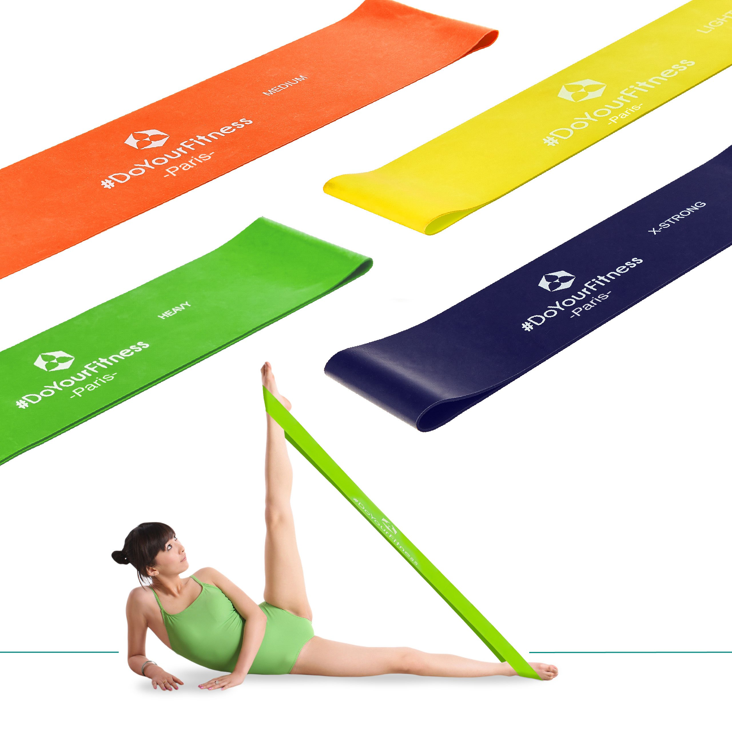 #DoYourFitness Set of 5 Loops Exercise Resistance Bands for Home Workout, Pilates, Yoga, Rehab, Physical Therapy with Carry Bag