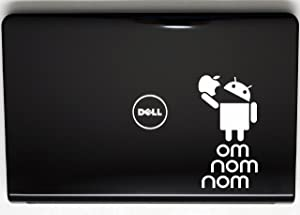 """Android Eating Apple - OM NOM NOM - 3 1/2"""" x 6 3/4"""" die cut vinyl decal for window, car, truck, tool box, virtually any hard, smooth surface"""