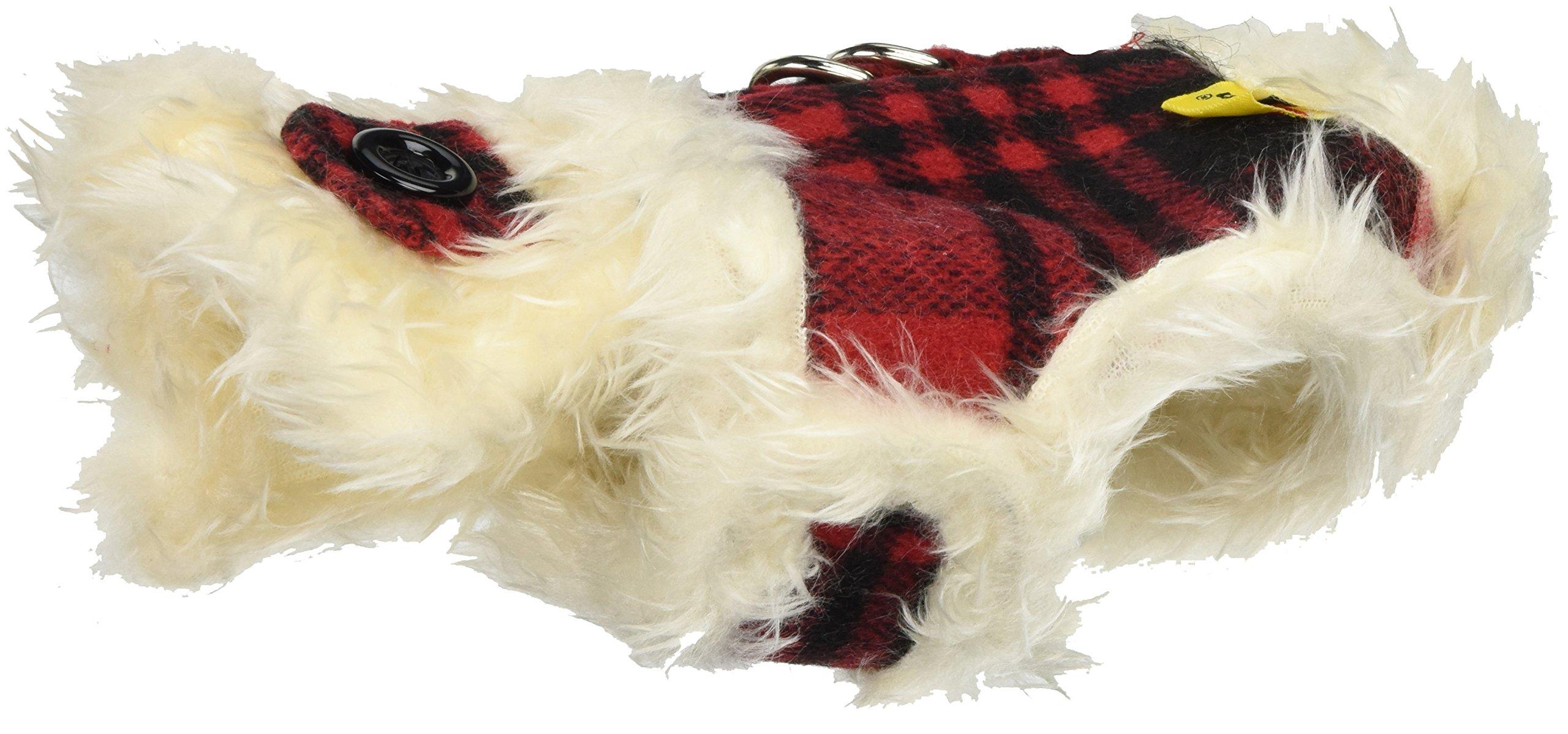 Anima Red Plaid Fur Lined Winter Harness Dress, XX-Small