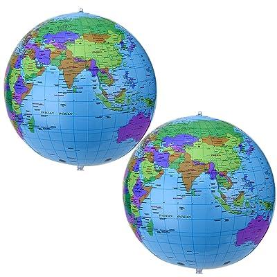 16 Pouces Globe Gonflable Globe Terrestre Gonflable Globe de Balle de Plage pour Jouer à la Plage Éducative, Coloré(2 Pièces)