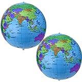 16 Zoll Aufblasbarer Erdkugel Inflatable Globe Wasserball Kugel für Pädagogisches Strand-Spielen, Mehrfarbig (2 Packung)