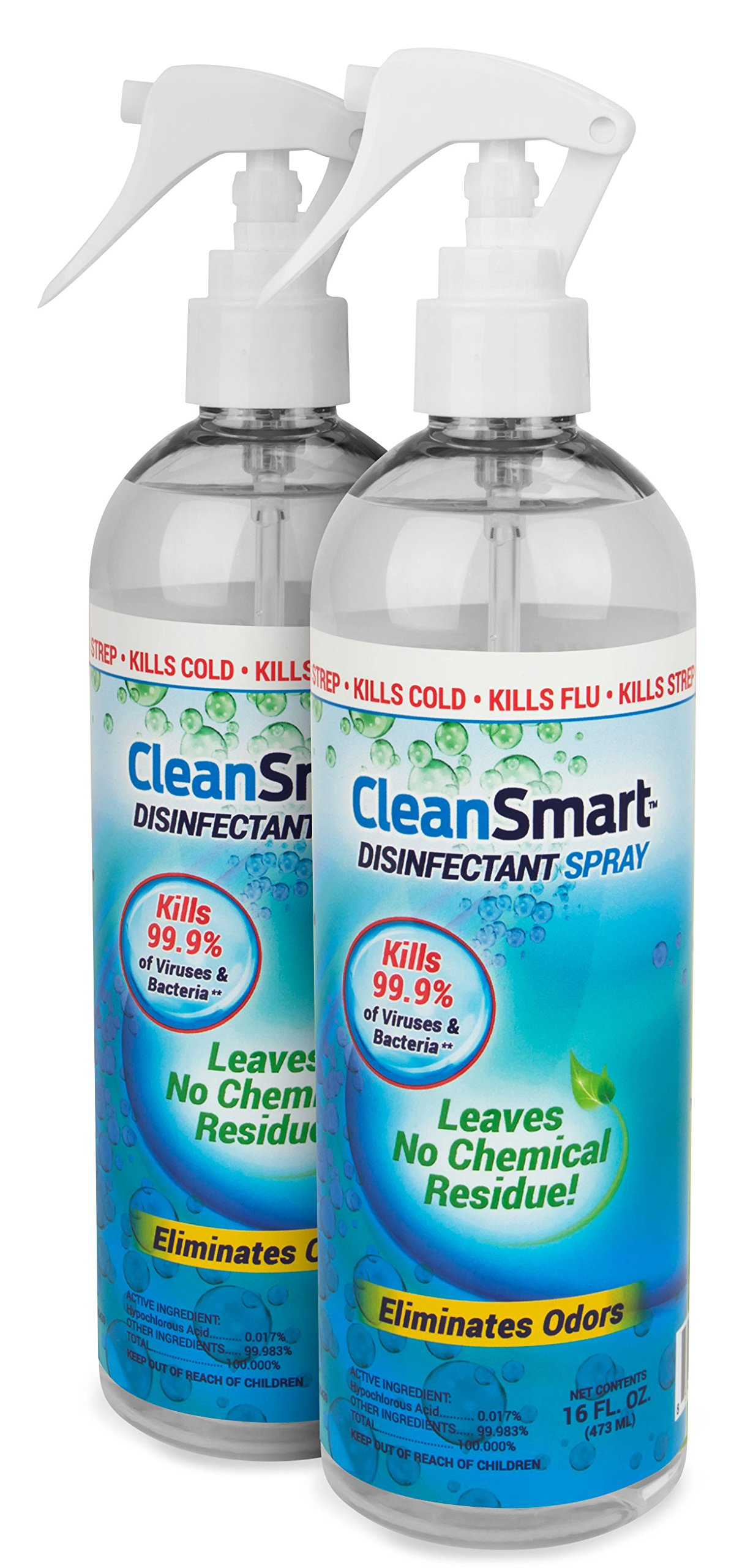CleanSmart Disinfectant Spray Mist Kills 99.9% of Viruses, Bacteria, Germs, Mold, Fungus. Leaves No Chemical Residue! 16oz. 2Pk. Great to Clean and Sanitize CPAP Masks, Parts & Air Dry.