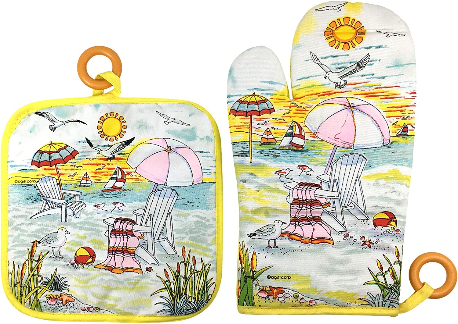 Beach Scene Oven Mitt and Pot Holder Set with Decorative Hanging Rings