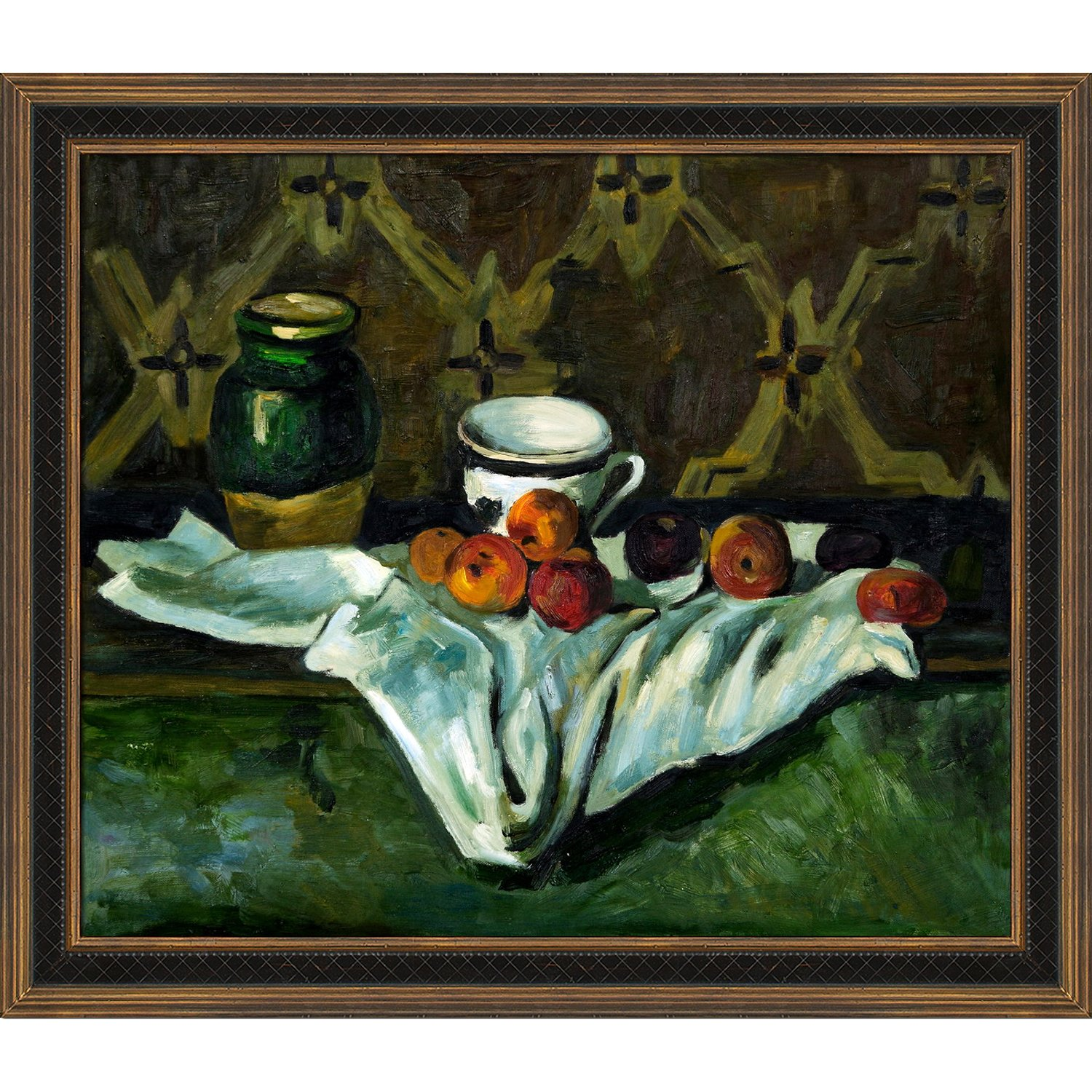overstockArt Cezanne Still Life with Cottage Oak Frame Diamond Patterned with Bronze and Dark Stain Finish