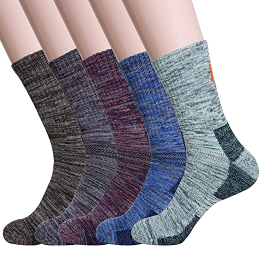 38ad79ce56 KONY 5 Pairs Men's Moisture Wicking Thick Cushioned Hiking Socks Outdoor  Multi Performance Mid Calf All